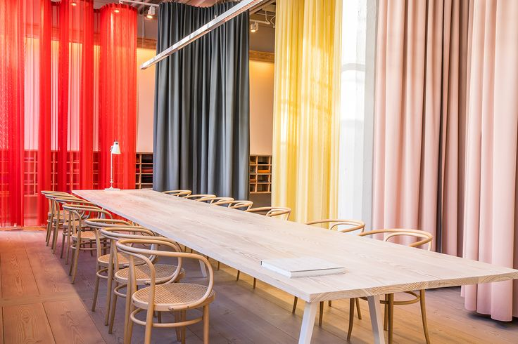Pilotis, Doshi Levien's vibrant, yet soothing architectural installation on show at our Stockholm showroom during Stockholm Design Week.  Photo by Evan Pantiel