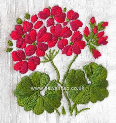 Buy Geranium - Silk Stitch & Sow Embroidery Kit Online at www.sewandso.co.uk