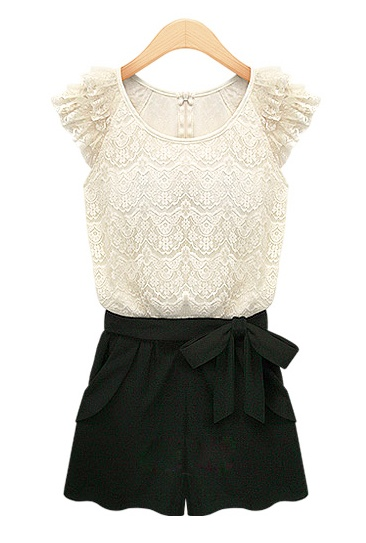 black and whiteBlack Shorts, Fashion, Lace Tops, Style, Cutest Rompers, Black And White, Black Laces, Lace Rompers, Lace Shirts