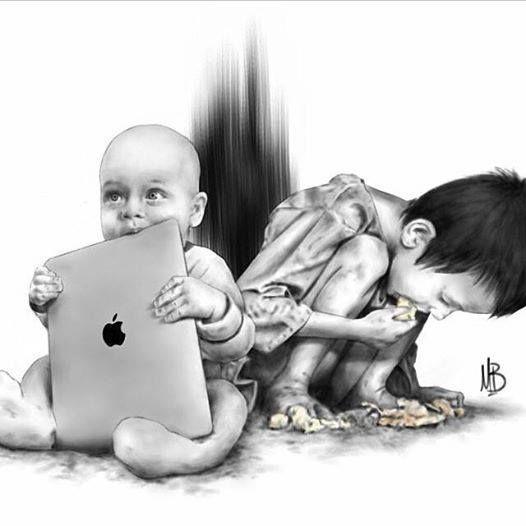 Motivo da escolha: O contraste da criança pobre comendo a comida, e da criança rica que tem um tablet da Apple.