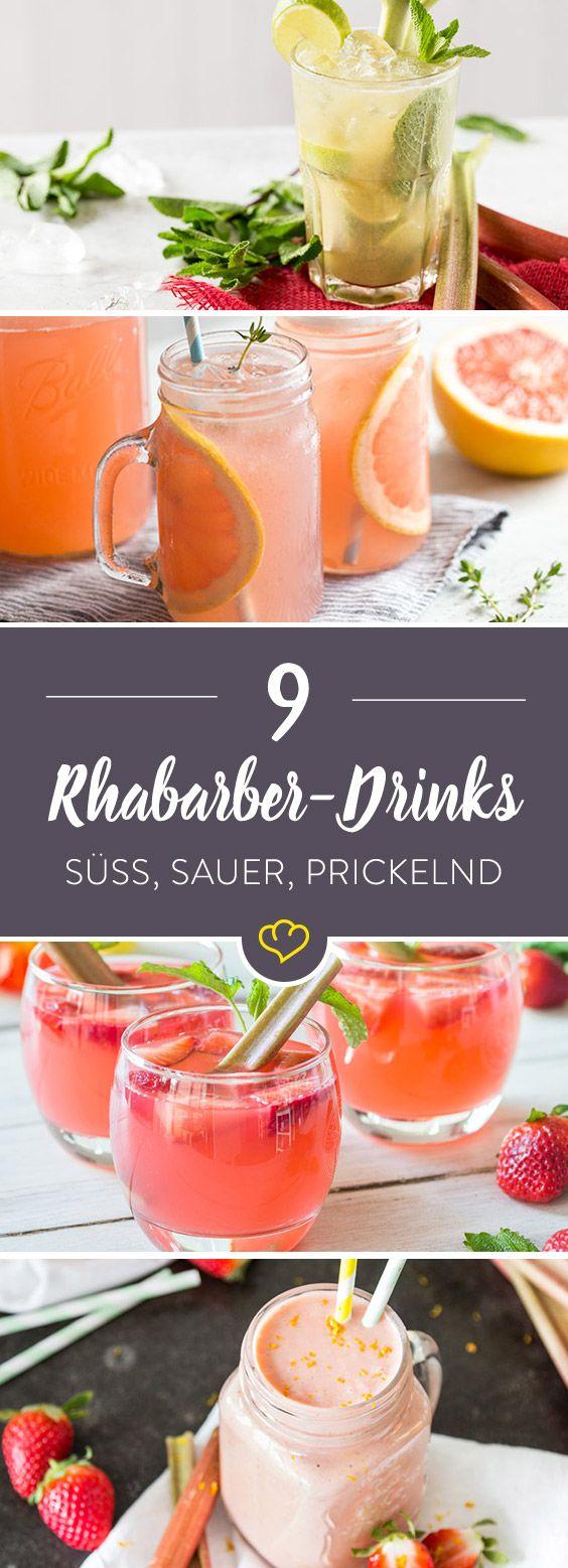 Passend zum Frühling kommt bei diesen 9 spritzigen Drinks ein echtes Saison-Gemüse mit ins Glas: Der süß-saure Rhabarber ist grün, rot und erfrischend.