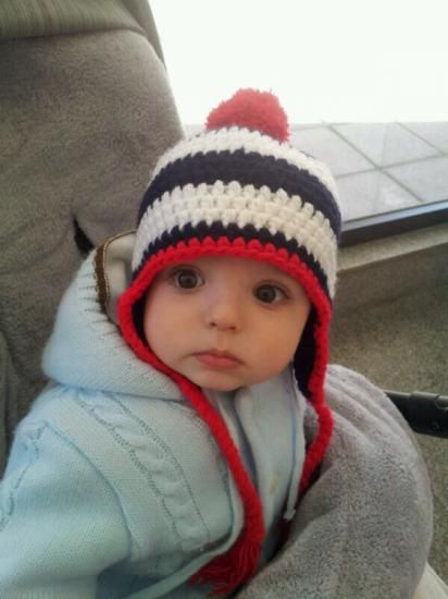 Gorro bebé marino blanco y rojo