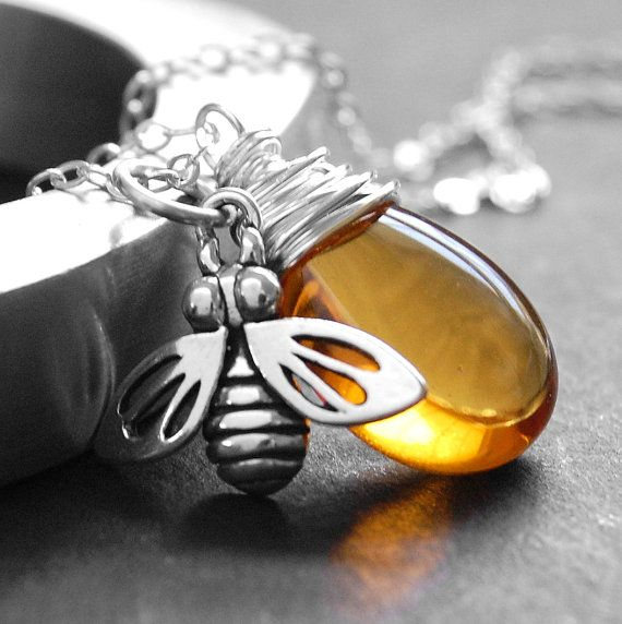 Honeybee Necklace,  Yellow Glass Wire Wrapped Pendant, Amber Czech Glass, Sterling Silver Honeybee Charm, Nature Jewelry on Etsy, $36.00