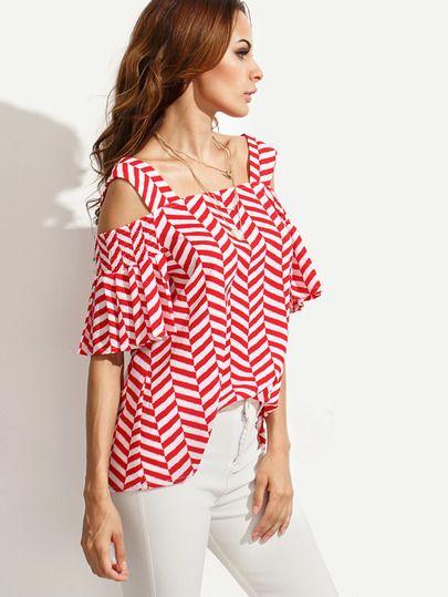 Blusa rayas hombros descubiertos - rojo-Spanish SheIn(Sheinside)