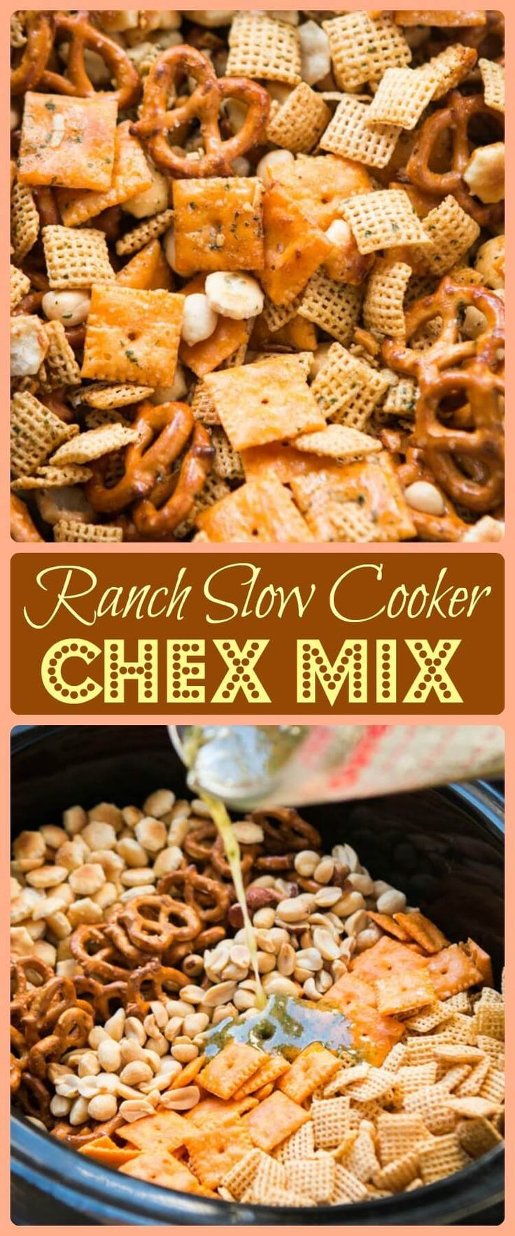 Every party needs something sweet, something salty, something light and something indulgent. This ranch slow cooker chex mix is both salty and addicting! via @ohsweetbasil
