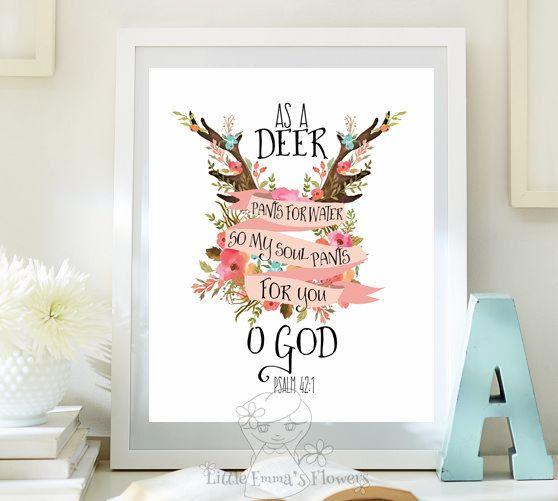 Bible verse art printable scripture wall art decor psalm for Bible verse decor