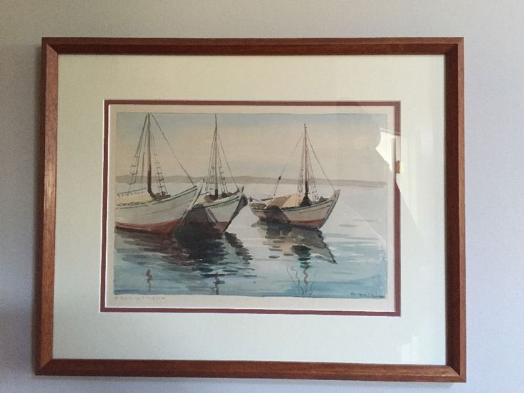 Signed Greek Painting Sailboats in Vouliagmeni Unknown artist   | eBay