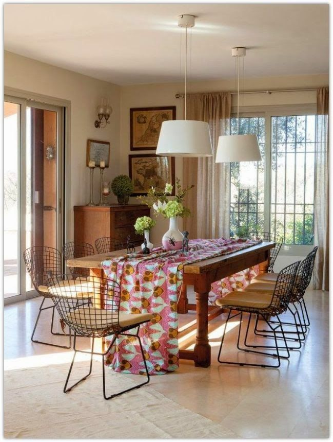 A Sturdy Farm Table Can Support This Over Sized Brightly Patterned Runner With Ease Switching Up The Fabric Seasons Or To Match Party Decor Is An
