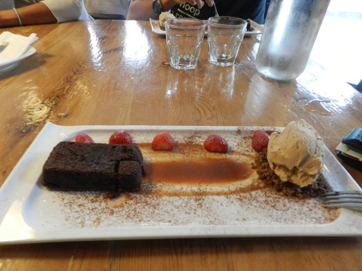 Warm chocolate Brownie, Chai spiced  caramel & Coffee ice cream by Gelato Fresco  http://barque.ca/