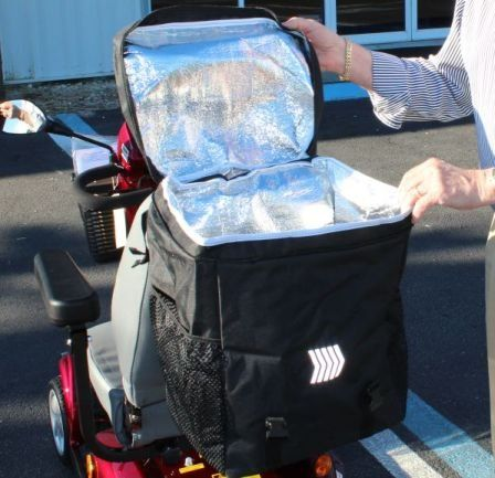 COOLER BAG Insulated Large Compartment for Pride Scooter Power wheelchair Seatback Mount Challenger Mobility http://smile.amazon.com/dp/B00P89EIEM/ref=cm_sw_r_pi_dp_y6tqvb13GFM6K