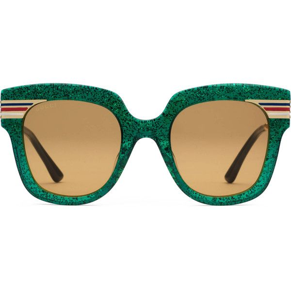 3b535c223da Gucci Square-Frame Glitter Acetate Sunglasses (40050 RSD) ❤ liked on Polyvore  featuring accessories