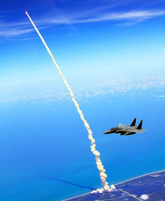 Aerial photo of Shuttle launch: Spaces, Shuttle Launch, Fighter Jet, F15, Shuttle Atlantis, Space Shuttle, Photo