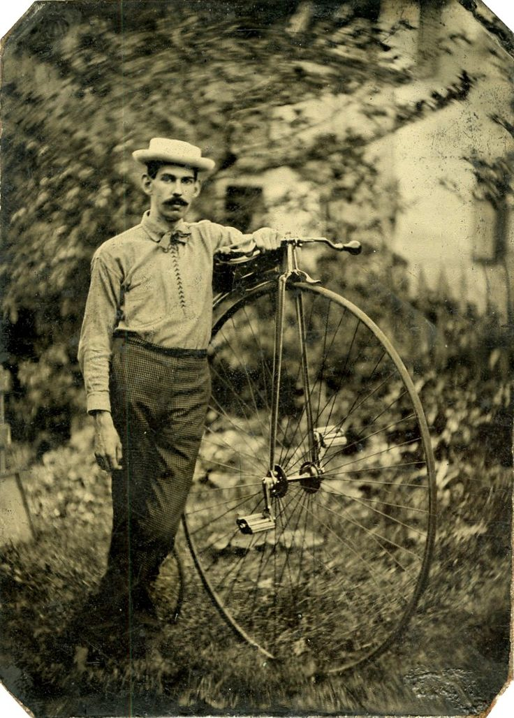 """ca. 1870-1900, [tintype portrait of a gentleman identified on verso as """"William Austen Corwith, 1/2 brother"""" with his high wheeled bike], Frank Howell Corwith"""