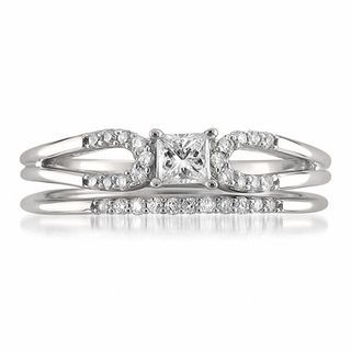 1/3 CT. T.W. Princess-Cut Diamond Split Shank Bridal Set in 14K White Gold | Bridal Sets | Wedding | Zales