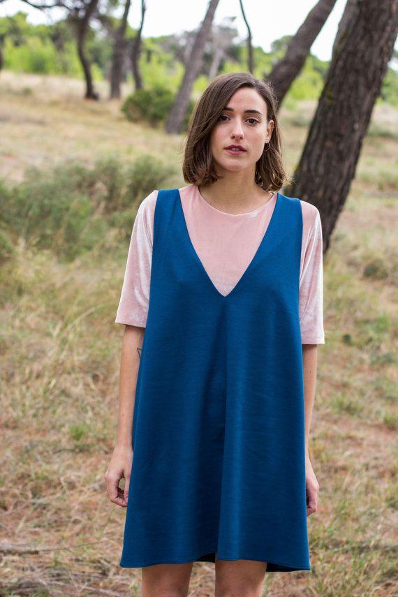 Winter Sale Blue dress comfy dress sleeveless dress by JojoBlanc