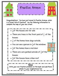 Fraction worksheet (free sample from a reasonably-priced early elem. fractions packet created by a terrifically creative teacher)