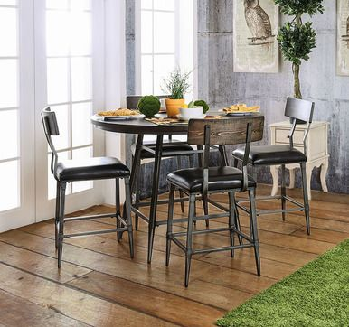 """Industrial Style 45"""" Round Counter Height Table Set"""