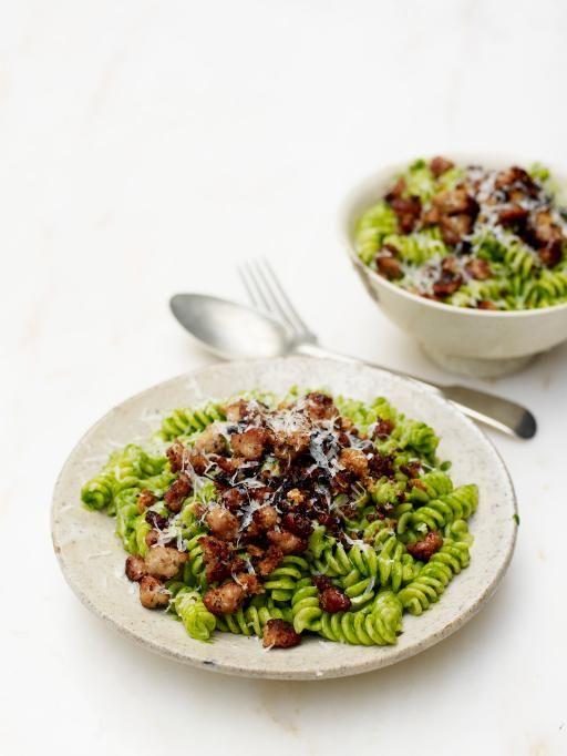 wonderful wild garlic & sausage fusilli   Jamie Oliver   Food   Jamie Oliver (UK) - love the vibrant colours and it tastes wonderful