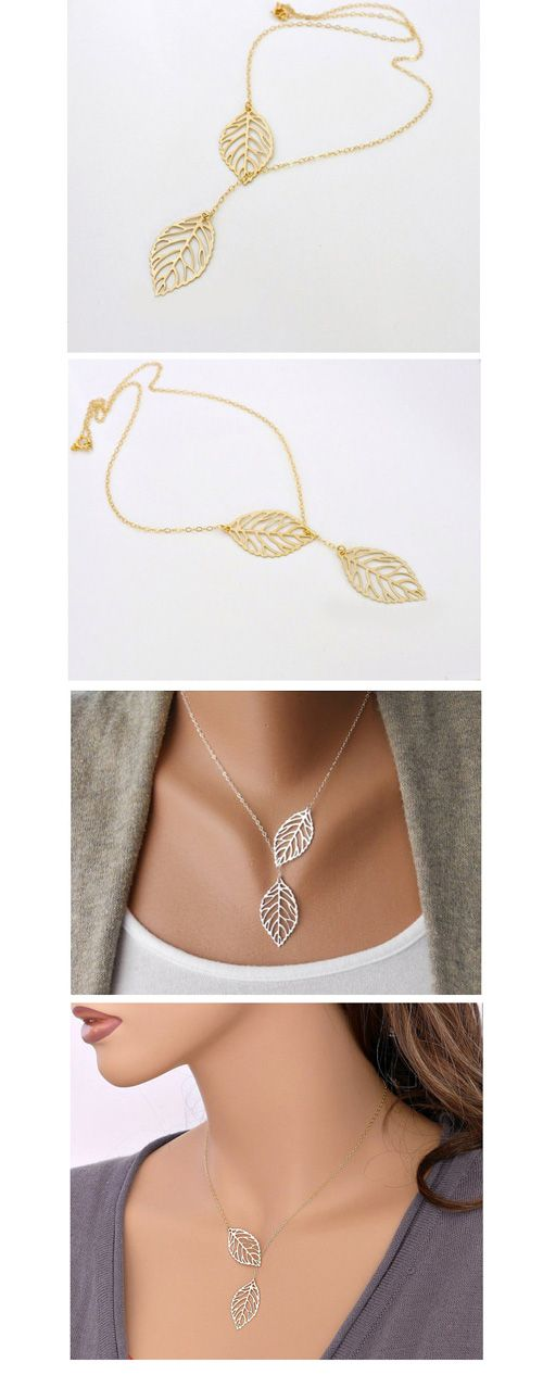 YANA Jewelry 2015 New Gold And Sliver Two Leaf Pendants Necklace Chain multi…