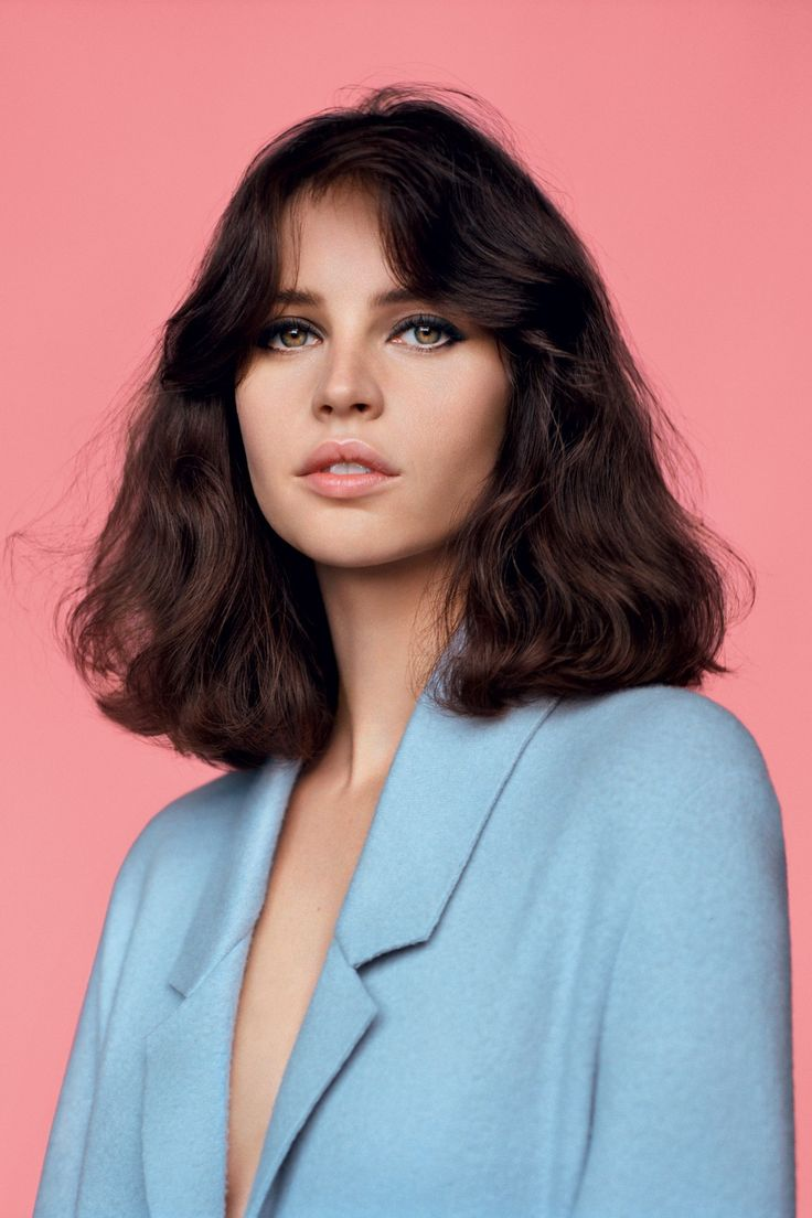 Felicity Jones // retro hair & blue coat #style #fashion #beauty #british #celebrity
