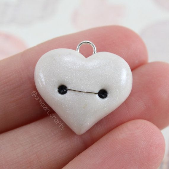 Pearl Baymax Heart Polymer Clay Charms Polymer by AmazinCraftss