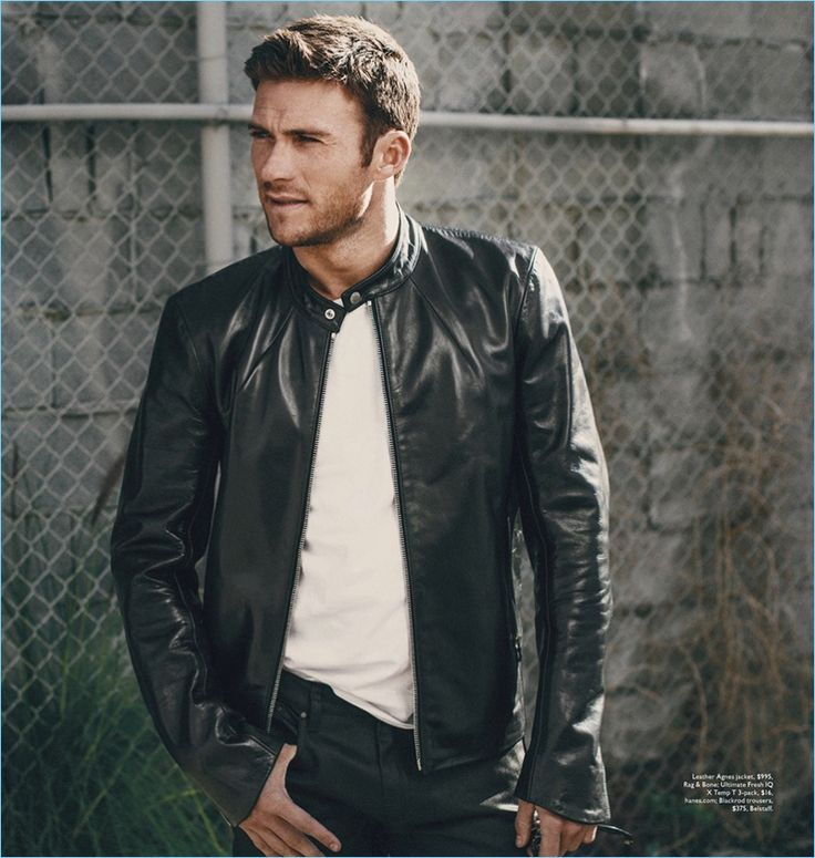Brian Higbee photographs Scott Eastwood in a Rag & Bone leather jacket with a Hanes t-shirt and Belstaff trousers.