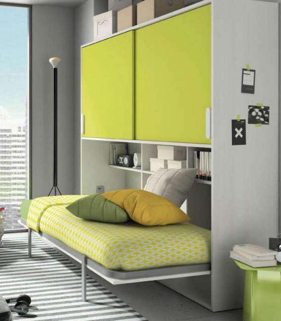Cama abatible horizontal y un módulo con dos puertas correderas sobre la cama. Es la solución ideal para las habitaciones con poco espacio. http://www.aristamobiliario.es/camas-abatibles/255-cama-abatible-juvenil-dean-low-cost-307-azor.html