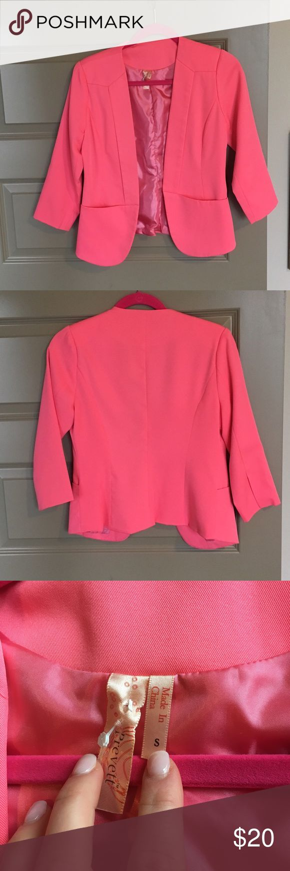 Hot Pink Blazer Fresh back from the dry cleaners. Great addition to any work outfit in the spring! Lighter material Jackets & Coats Blazers