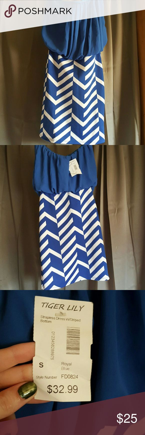 Blue and white Dress. Brand new never worn. Size small but has alot of stretch to its, great for going out, the beach, or summer! Feel free to ask questions. Tiger Lily Dresses