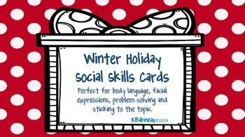 For kids with social skill difficulties, the holidays can be especially challenging!  Try these fun cards to address body language, problem solving, etc.