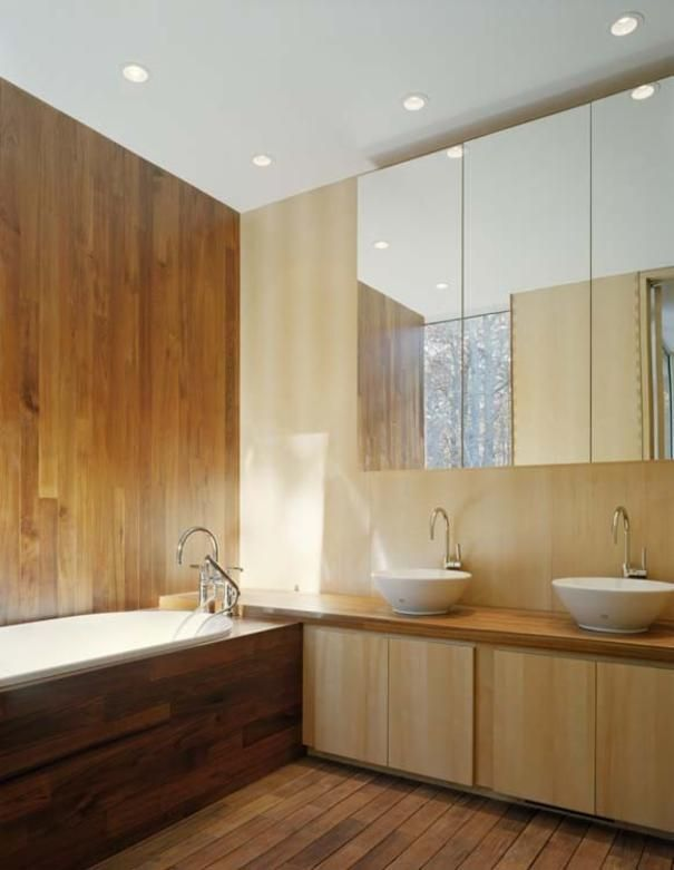 Photo of Brown Minimalist Bathroom project in Sagaponac, NY by Dean Maltz
