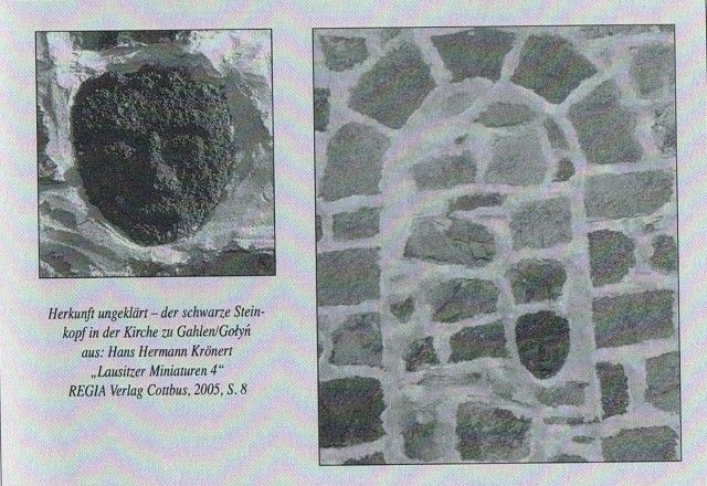 Каменное лицо вмурованное в стену церкви в городе Gahlen (Голынь).