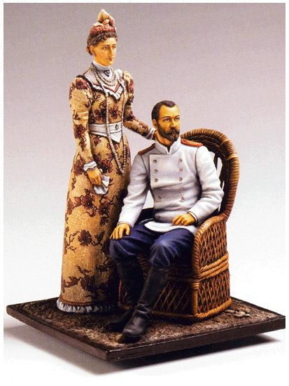 Tsar Nicholas II and Alexandra painted miniature