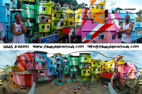 Dúo holandés Haas & Hahn , Jeroen Koolhaas y Dre Urhahn, están transformando los barrios pobres o favelas de las laderas a Brasil en coloridas obras de arte, estimulando la renovación urbana.