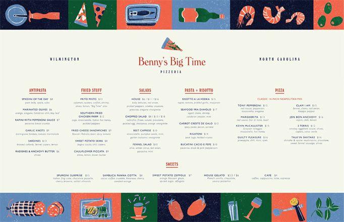 Benny S Big Time Pizzeria Menu By The Door Menu Inspiration Menu Design Pizzeria Menu