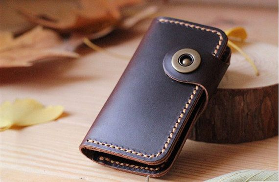 Men Women Genuine Leather Car Key Case Bags Chains Holder Cover with Button Closure Card Holder Coin Case