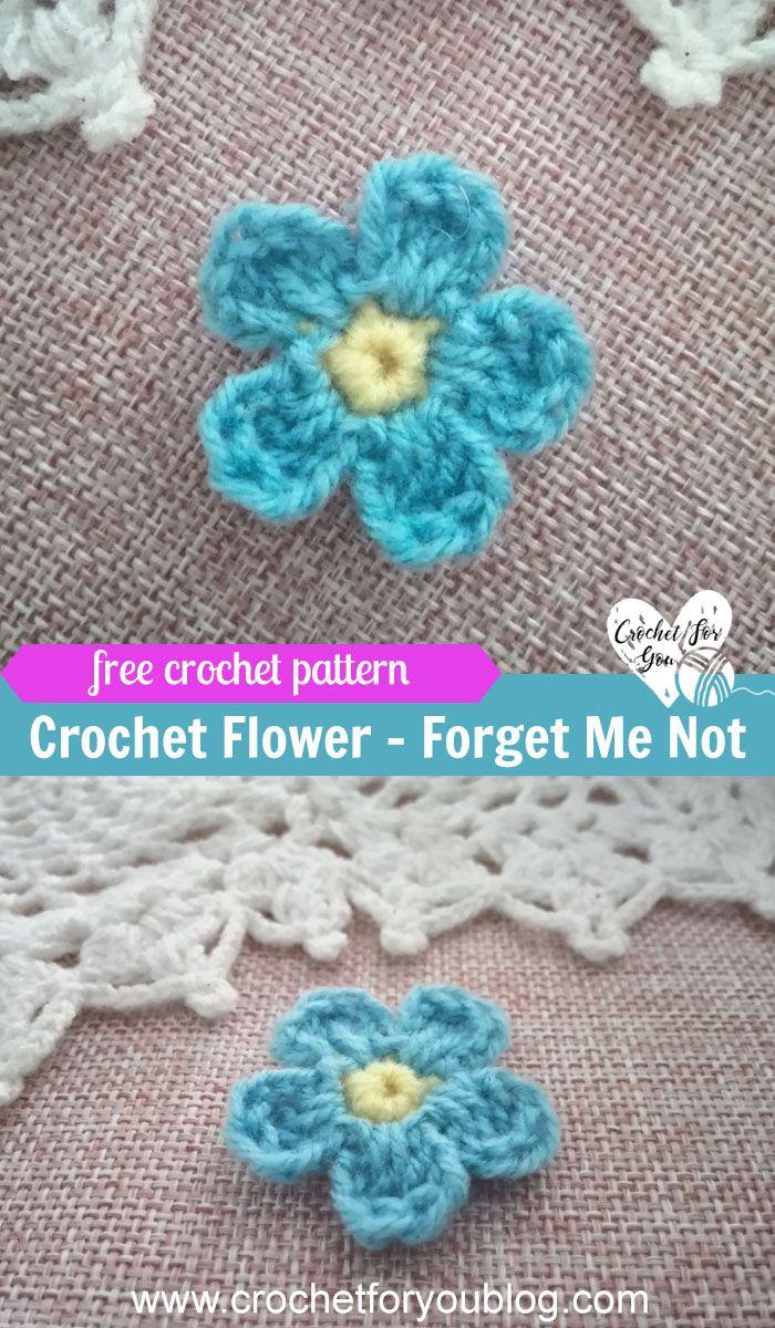 How to Crochet Flower Forget Me Not Free Pattern en 2018   Crochet ...