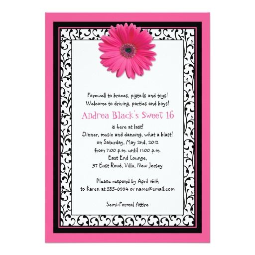 Hot Pink Gerbera Daisy White Wedding Invitation 5 X 7: 1000+ Images About Daisy Birthday Party Invitations On