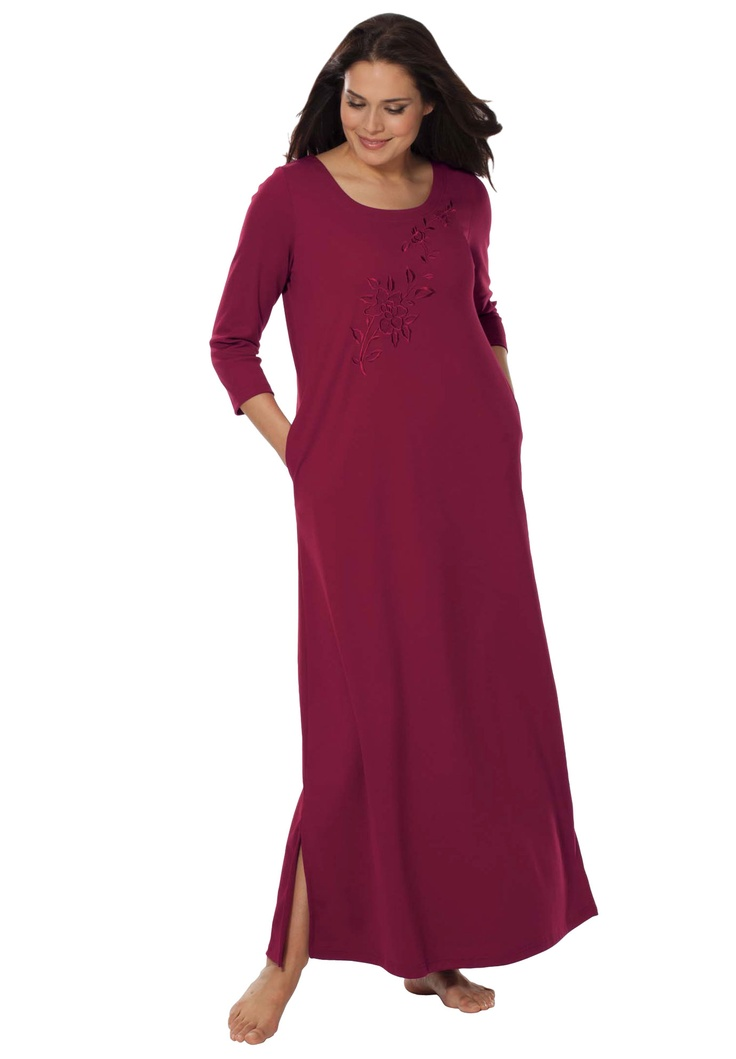 Embroidered knit lounger by Only Necessities® | Plus Size ...