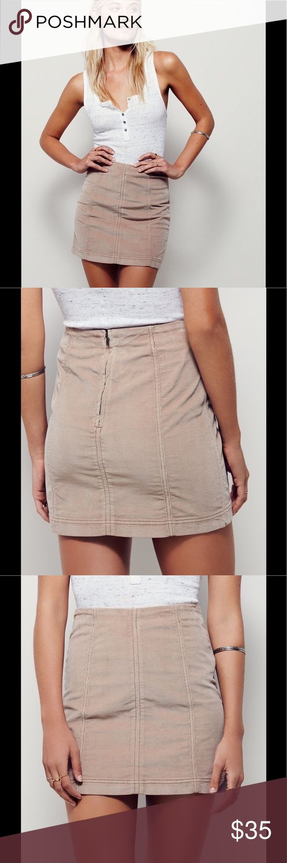 NWT Free People Femme Modern Corduroy Mini Skirt Manufacturer: Free People Size: 6 Size Origin: US Manufacturer Color: Mushroom Retail: $50.00 Condition: New without tags Style Type: Mini Collection: Free People Bottom Closure: Exposed Back Zipper Length: Micro Mini Total Skirt Length: 16 Inches Waist Across: 13 1/4 Inches Hips Across: 17 Inches Material: 98% Cotton/2% Spandex Fabric Type: Corduroy Specialty: Stretch #111 Free People Skirts Mini