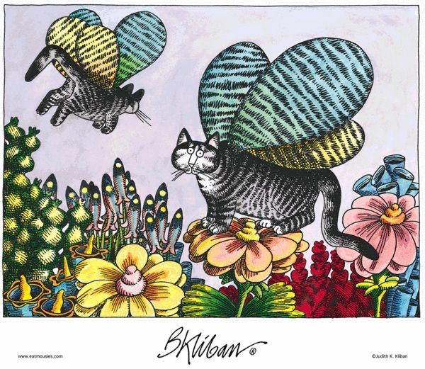 Kliban's Cats. Caterpillars...…they hang around on the pussywillows and the tiger lilies…