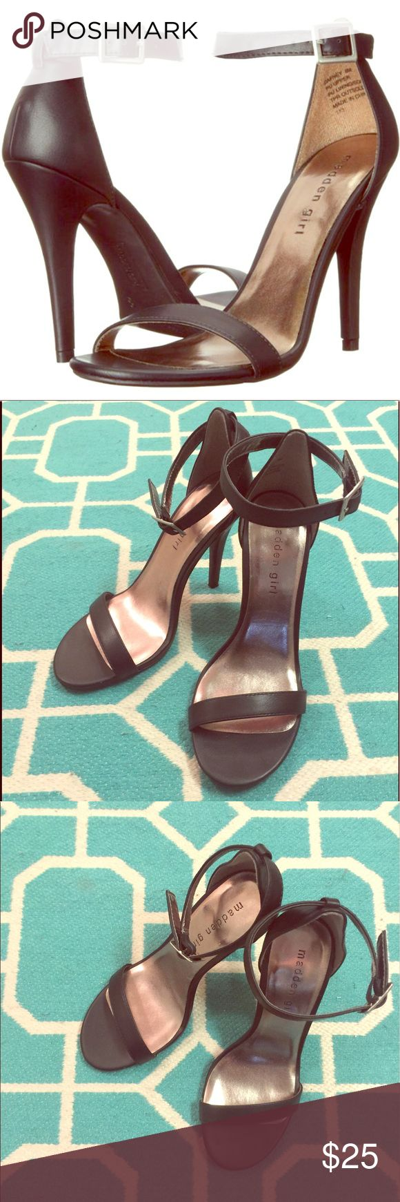 """Madden Girl 'Dafney' Ankle Strap Heels Cute black adjustable ankle strap closure heels. Lightly cushioned footbed, open round toe, and non-skid sole. Heel height is approx. 4.25"""". Excellent condition. No box. Bundle for a discount! Madden Girl Shoes Heels"""