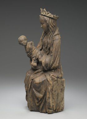 Seated figure of the Virgin holding the Christ child (Spain, 15th century, Brooklyn Museum, New York)