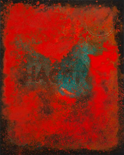 3243 Hachiya Persimmon Oil abstract painting 40x60 inch Sam Roloff Red Series  SOLD