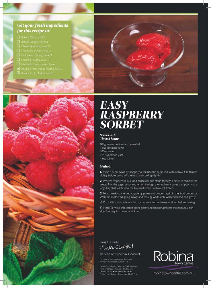 Justine Schofield's Easy Raspberry Sorbet