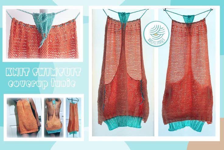 BIKINI COVERUP - dzianinowa tunika na plażę - MadelinART - Sukienki wiązane na szyi