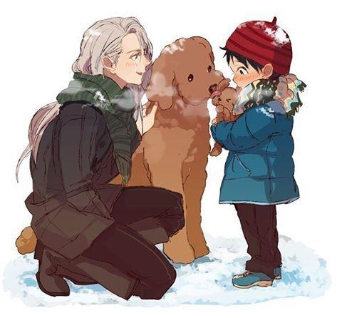Viktor Nikiforov, Makkachin and Yuuri Katsuki {kid} |♡ Viktuuri ♡|| Yuri!!! On Ice (ユーリ!!! on ICE)