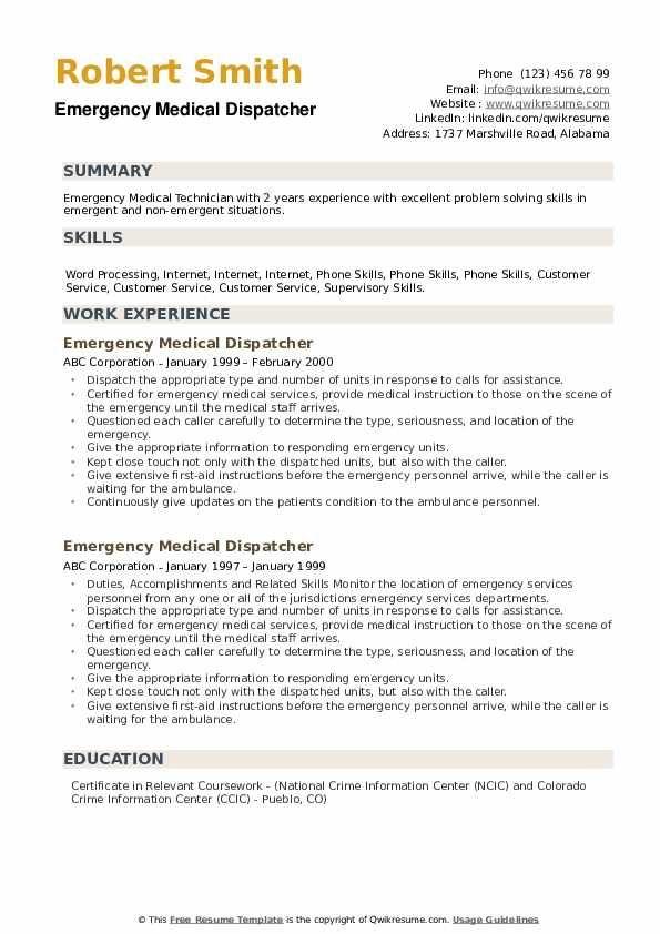 Emergency Medical Dispatcher Resume Samples Medical Resume Emergency Medical Resume