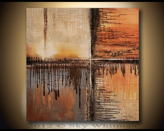 RESERVED for bdk1 LARGE Modern Contemporary Art Orange Square Abstract Painting 36X36  Sky Whitman