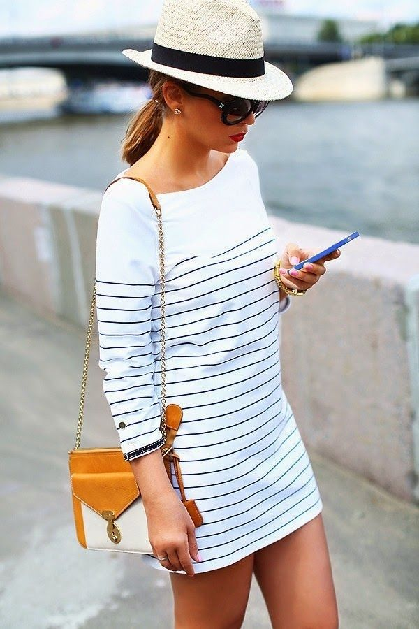 Summertime Fashion 2014 Nautical striped dress with fedora. A terrific look for the humid days.